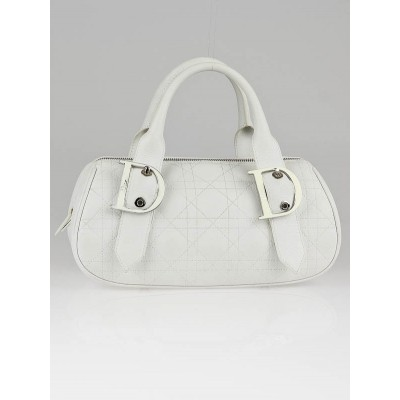 Christian Dior White Quilted Leather Cannage Small Satchel Bag