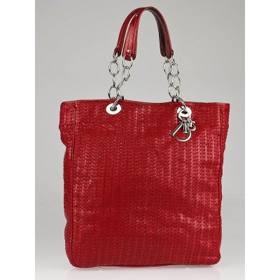 Christian Dior Red Woven Leather Lady Dior Large Tote Bag