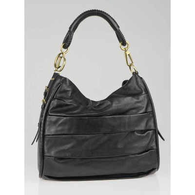 Christian Dior Black Lambskin Pleated Libertine Hobo Bag