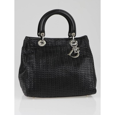 Christian Dior Black Woven Leather Medium Soft Lady Dior Tote Bag