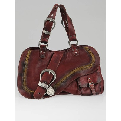 Christian Dior Red Distressed Leather Gaucho Tote Bag