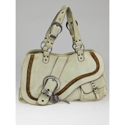 Christian Dior White Distressed Leather Gaucho Tote Bag