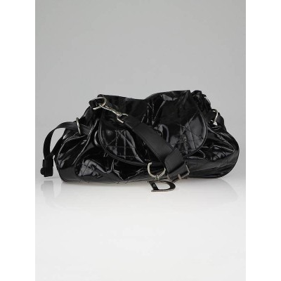 Christian Dior Black Quilted Patent Leather Cannage Medium Drawstring Flap Bag