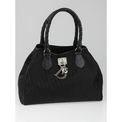 Christian Dior Black Diorissimo Canvas Medium Tote Bag