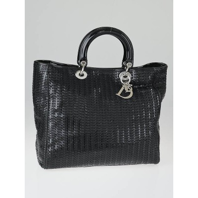 Christian Dior Black Woven Leather Soft Lady Dior Tote Bag