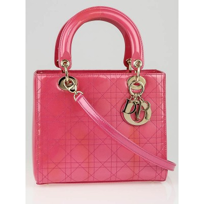 Christian Dior Pink Cannage Quilted Patent Leather Medium Lady Dior Bag