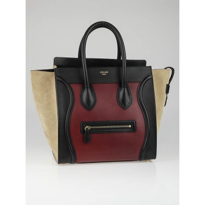 Celine Rust Tri-Color Smooth Calf Leather Mini Luggage Tote Bag