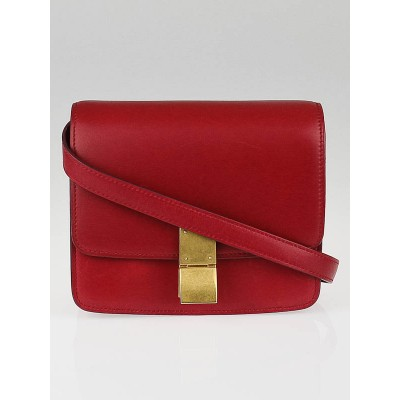 Celine Red Calf Leather Small Classic Box Bag