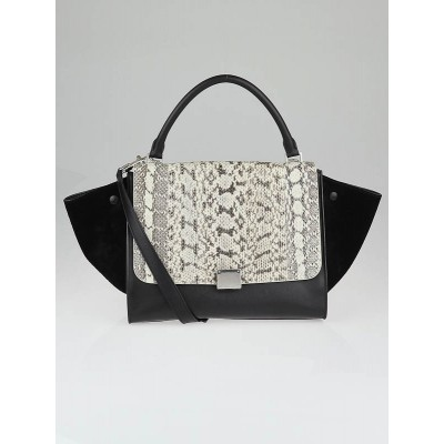 Celine Whipsnake and Black Leather Small Trapeze Bag