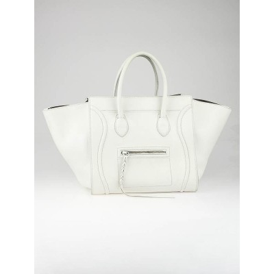 Celine White Smooth Calfskin Leather Small Phantom Luggage Tote Bag