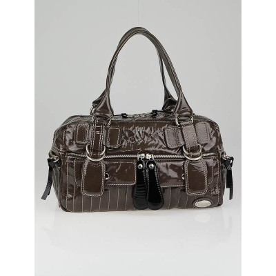 Chloe Brown Patent Leather Large Bay Satchel Bag