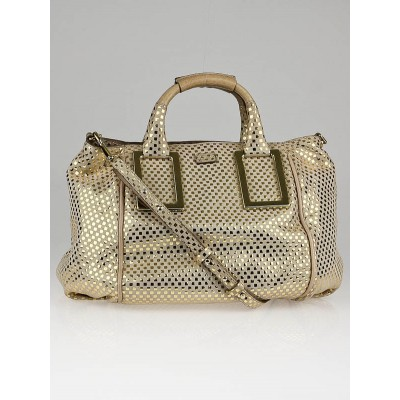 Chloe Metallic Gold Leather Ethel Satchel Bag