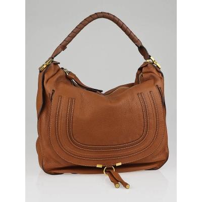 Chloe Tan Calfskin Leather Large Marcie Hobo Bag