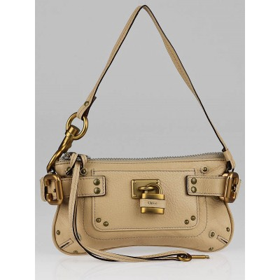 Chloe Beige Leather Mini Paddington Clutch Bag