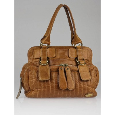 Chloe Brown Quilted Leather Bay Bag