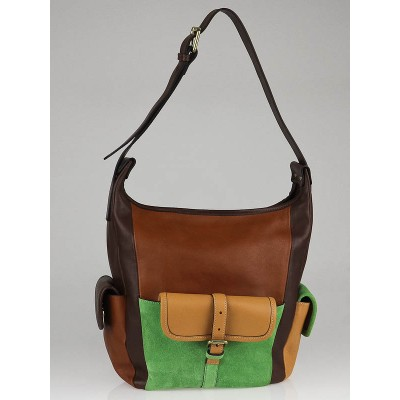 Chloe Brown Leather and Green Suede Patchwork Gabby Bucket Bag