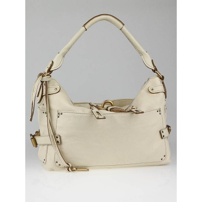 Chloe White Leather Paddington Large Hobo Bag
