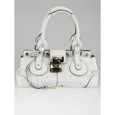 Chloe White Leather Plexo Paddington Medium Satchel Bag