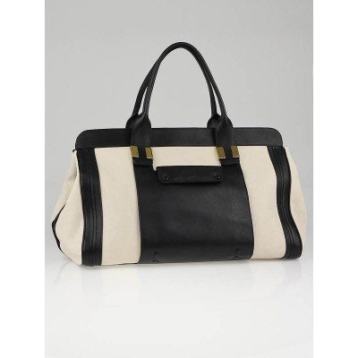 Chloe White/Black Leather Colorblock Large Alice Satchel Bag