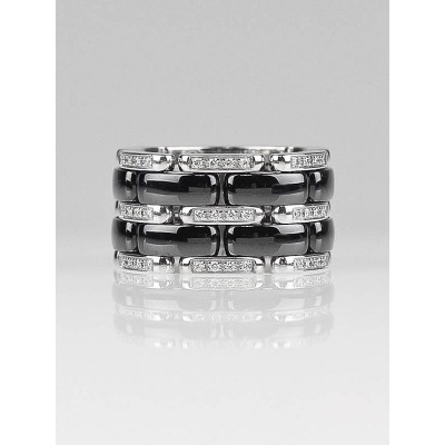 Chanel 18k White Gold and Diamond  Black Ceramic Ultra Ring Size 7.5