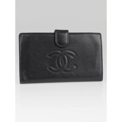 Chanel Black Caviar Leather French Purse Wallet