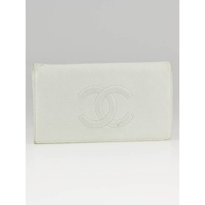 Chanel White Caviar Leather CC Long Bi-Fold Wallet