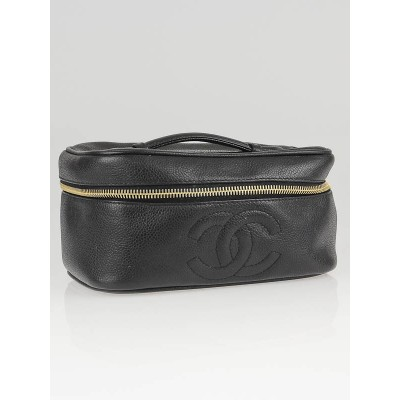 Chanel Black Caviar Leather CC Logo Small Cosmetic Case Bag
