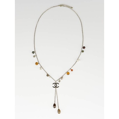 Chanel Brown Multicolor Autumn 'Y' Long Necklace