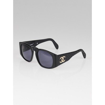 Chanel Black Frame Quilted CC Logo Sunglasses
