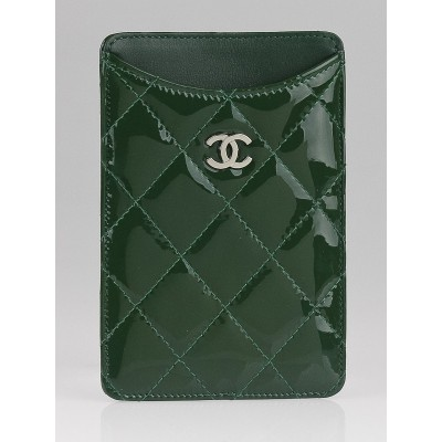 Chanel Green Quilted Patent Leather  iPhone 4 Holder