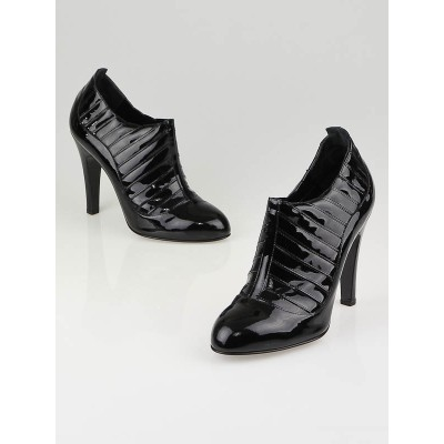 Chanel Black Quilted Patent Leather Ankle Boots Size 9.5/40