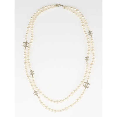 Chanel Faux Pearl and Crystal CC Logo Double Strand Long Necklace
