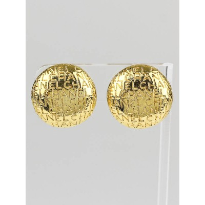 Chanel Vintage Goldtone Logo Clip-On Earrings