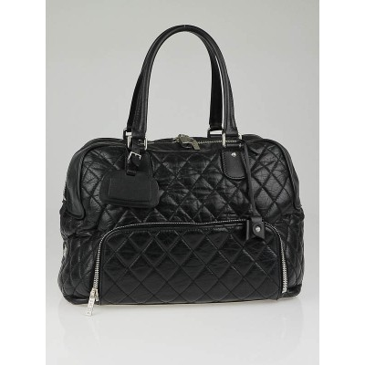 Chanel Black Quilted Distressed Lambskin Leather Medium Luggage Tote Bag (Paris New York PNY)