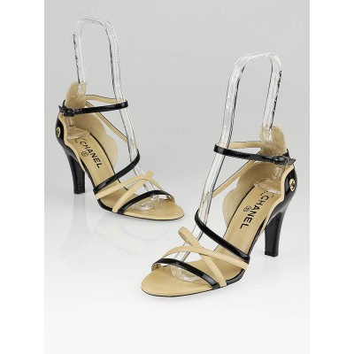 Chanel Beige/Black Patent Leather Scallop Ankle-Strap Sandals Size 7.5/38