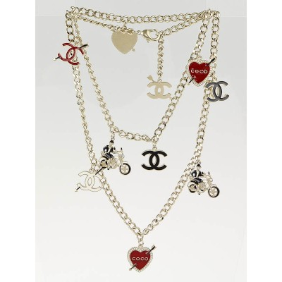 Chanel Goldtone Link Coco Rider Charm Necklace