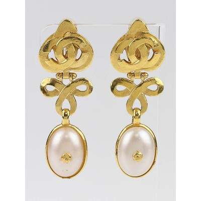 Chanel Faux Pearl and CC Logo Drop Clip-On Earrings
