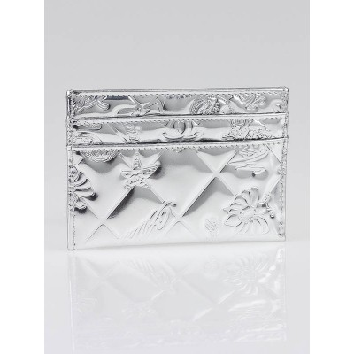 Chanel Silver Embossed Leather Symbols Card Holder
