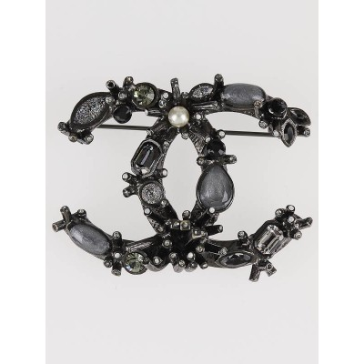 Chanel Black Crystal Jeweled CC Brooch