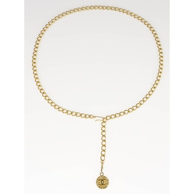 Chanel Vintage Goldtone Chain CC Medallion Skinny Belt