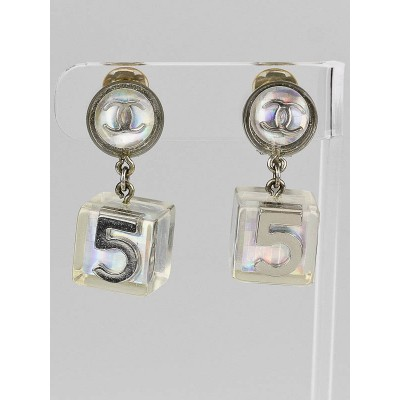 Chanel Clear Resin Chanel No. 5 Perfume Bottle CC Drop Earrings