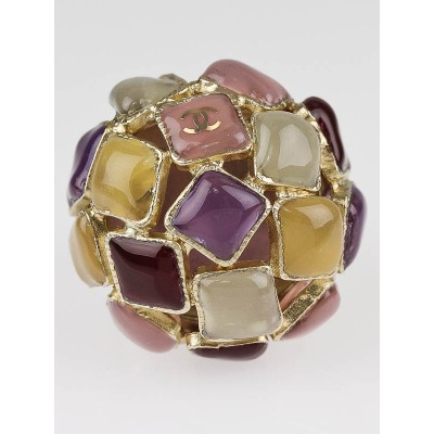 Chanel Multicolor Mosaic Stone CC Logo Cocktail Ring Size 7