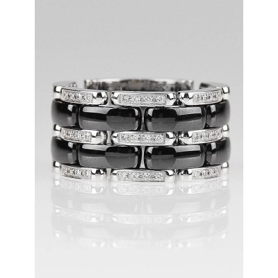 Chanel 18k White Gold and Diamond Black Ceramic Ultra Ring Size 8