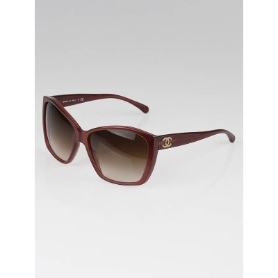 Chanel Brown Clear Resin CC Logo Oversize Sunglasses-5203