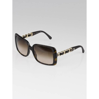 Chanel Tortoise Shell Frame Leather and Chain Sunglasses 5208-Q