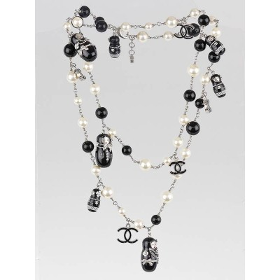 Chanel Black/White Beaded Matryoshka Doll  Moscow Collection Long Necklace