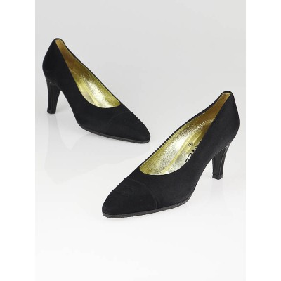 Chanel Black Satin Vintage Cap Toe Pumps Size 7
