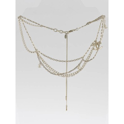 Chanel Goldtone Twist Chain CC Logo Necklace