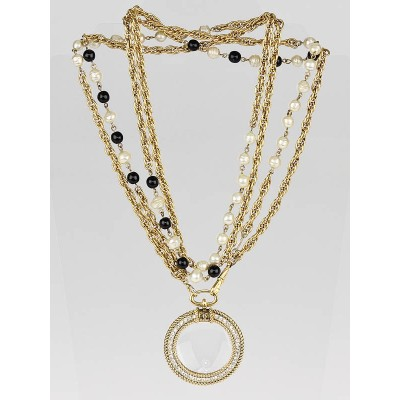 Chanel Vintage Goldtone Chain and Beaded Magnifying Long Necklace