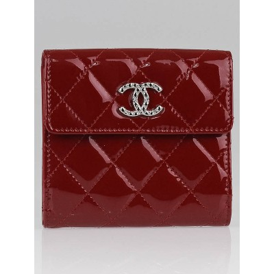 Chanel Red Patent Leather Compact French Wallet